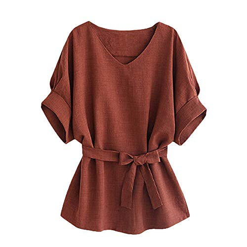 iLOOSKR Elegant Youth Women's Clothing! Self-Collecting Short-Sleeved Lace-Up Blouse Tops T-Shirt(Brown,L)