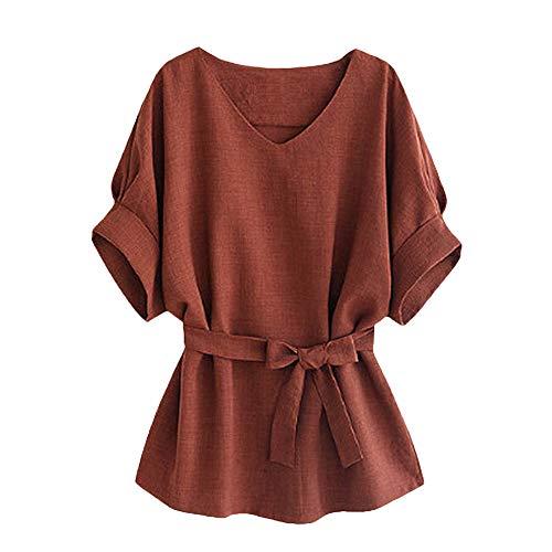 TWIFER Kurzärmeliges Einfarbiges Damen Top T-Shirt Shirt Mit V Ausschnitt Selbst Krawatte Kurzarm Bluse Tops Tee Shirt