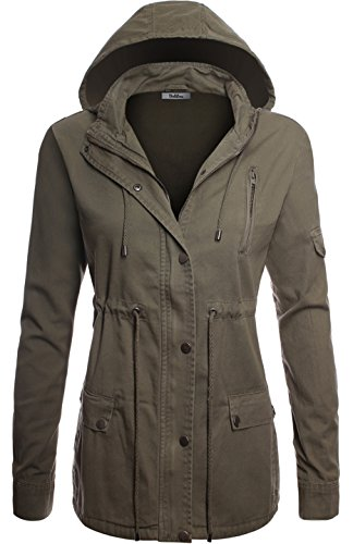 BodiLove Women's Plaid Hooded Drawstring Waist Utility Jacket Olive M