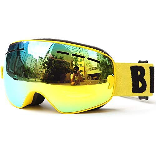 NoNo Skibrille Brille Snowboard Anti-Fog-Skibrille breite sphärische Linse große Skimaske (Color : Blue)