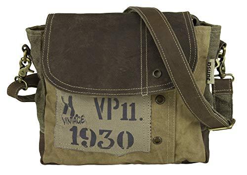 Sunsa Canvas kleine Umhängetasche Messengertasche Damen Herren Schultertasche Crossbody Tasche Damentasche mit Leder Herrentasche Vintage Handtasche Studententasche Unisextasche Baumwolletasche