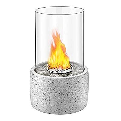Tabletop Fire Bowl Pot, Indoor Outdoor Portable Tabletop Fireplace–Clean-Burning Bio Ethanol Ventless Fire Pit for Christmas, Birthday, Party and Dining (White)