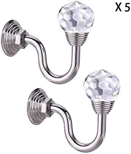 Gordijn met 5 paar kristallen bollen, voor aan de muur, om op te hangen, bril, om op te hangen, garderobehaken, decoratief gordijn (kleur: zilver, maat: 8bayfa Eén maat zilver.