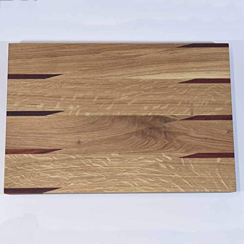 Tabla de cortar de cocina con inserciones de madera preciosa de alta...