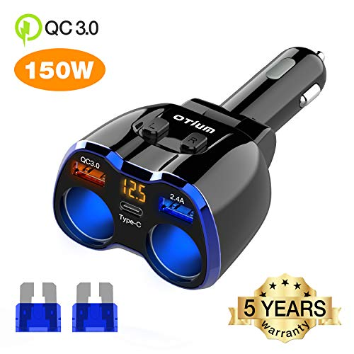 Car Charger, Otium 150W 2-Socket Cigarette Lighter Splitter QC 3.0 Dual USB Ports 1 USB C Fast Car Adapter with Separate Switch LED Voltmeter Replaceable 15A Fuse Compatible GPS/Dash Cam/Phone/iPad