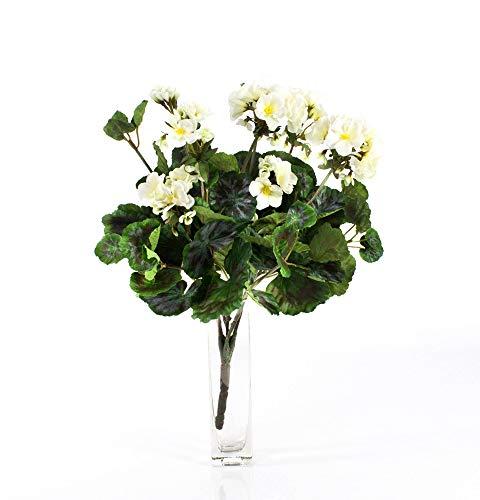 artplants.de Decorativa Mata de geranios Merle, Crema, 45cm, Ø 25cm - Planta Artificial - Flor sintética