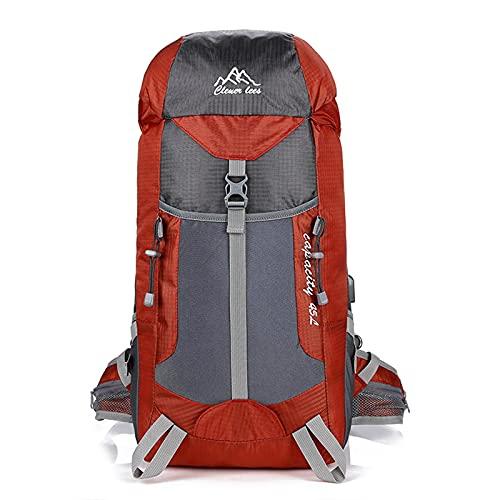 AMYMGLL Zaino Sportivo all'Aria Aperta da 40L Zaino USB Escursioni in Montagna Arrampicata da Campeggio Zaino da Viaggio,Red-50 * 33cm
