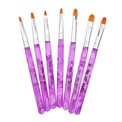 Haobase Zestaw 7 pędzelków do zdobienia paznokci, żel UV, akrylowy
