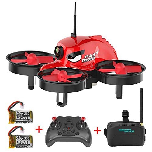REDPAWZ R011 Micro FPV Racing Drone with 1000TVL Camera,VR Goggles, FOV 120°Wide-Angle Live Video Quadcopter, One Key Return, Headless Mode RTF Drone for Beginners and Adults, 2Pc Modular Battery