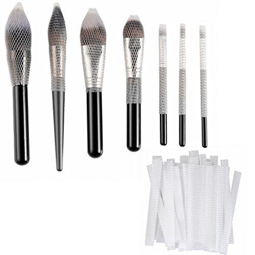 CLOTHOBEAUTY 40 pcs Makeup Brushes Pen Guard Protector Set Reusable Expandable Mesh Cover(Not include Brushes)