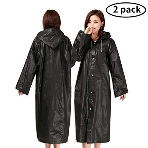 Guzack Ponczo przeciwdeszczowe, 2 sztuki, wodoszczelna kurtka przeciwdeszczowa EVA, płaszcz przeciwdeszczowy, ponczo przeciwdeszczowe, odzież przeciwdeszczowa, dla kobiet i mężczyzn, 160-190 cm