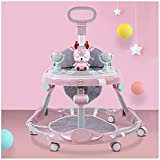 FXLYMR Mirror Wall-Mounted Decorative Baby Walker, Foldable Baby Activity Walker with Wheel Putter, Height Adjustable Baby Walker, Baby Walker for 6-18 Months Old Boys and Girls