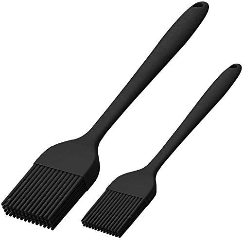 Silicone Basting Brush Set of Two Heat Resistant Long Handle (Black)