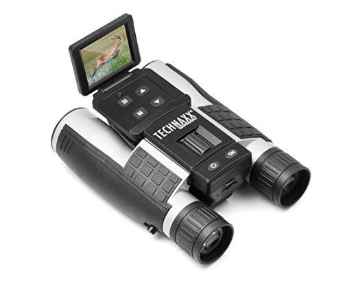 Technaxx FullHD Fernglas mit Display TX-142 - Integrierte Kamera mit 4-Fach Zoom und Farbdisplay, FullHD Video, 5MP Kamera, IPS-Farb-LCD, MicroSD, 12-facher Vergrößerung, Sichtweite: von 96 bis 1000m