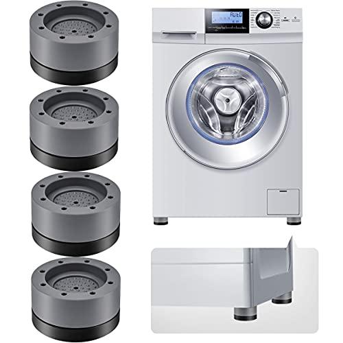 Vibrationsdämpfer, Schwingungsdämpfer Waschmaschine, Waschmaschinenunterlage 4 Stück, Antivibrationsmatte, Gummi Fußpolster für Wachmachinen und Trockner