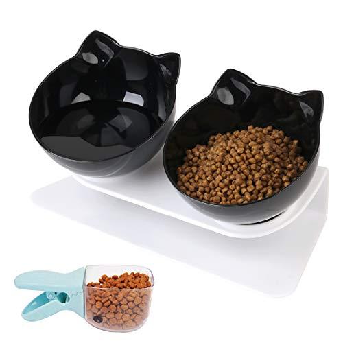 Joyibay Ciotole per Gatti-Doppio Gatto Ciotola con Supporto Ciotole per Gatti Ciotola per Acqua Regolabile Antiscivolo per Alimenti per Animali Ciotola per Gatti e Cuccioli