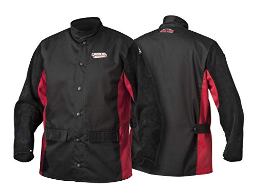 Lincoln Electric Split Leather Sleeved Welding Jacket | Premium Flame Resistant Cotton Body | Black & Red | Large | K2986-L
