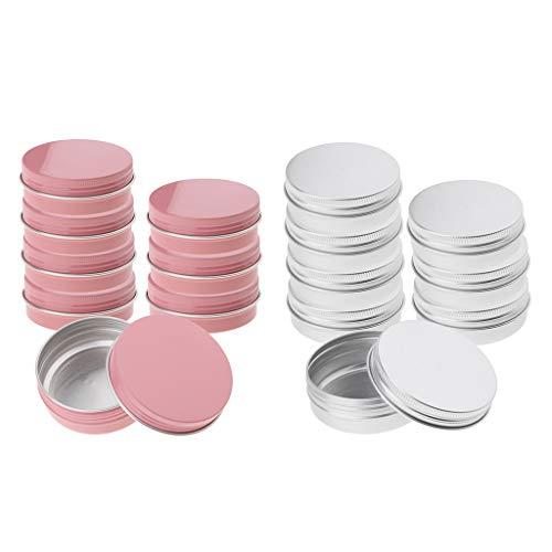 SDENSHI 16 Piezas de Plata Rosa 60 Ml Frascos de Aluminio Vacíos Estaño Envases de Bálsamo Labial Cosmético Maceta