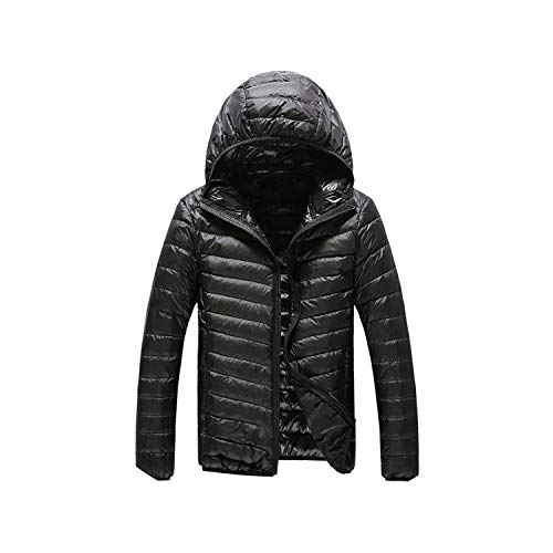 Warm for Men Feather Hooded Down Jacket Pure Color Boutique Mens Feather Down Coat,Black,L
