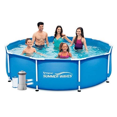 """Summer Escapes Waves Frame Pool 3.05m x 76cm 10ft x 30"""" with Filter Pump -  Polygroup"""