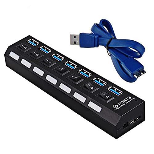 HUB USB 3.0 con divisor USB múltiple de 7 puertos con adaptador de corriente de interruptor Expansor para computadora PC Windows2000 / XP / Win7 / Vista