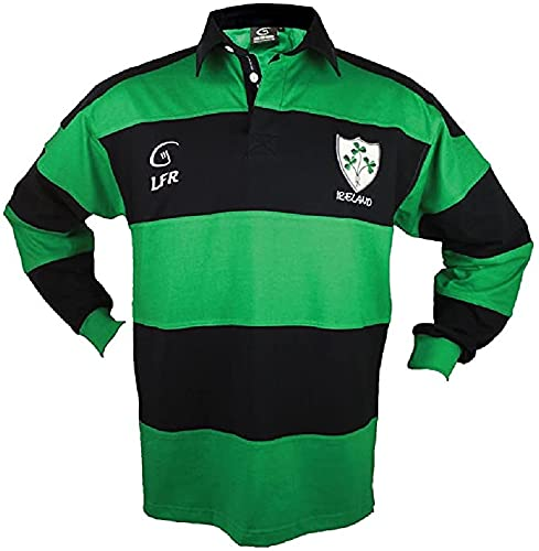Irish Rugby Shirt for Men, Green and Blue with Shamrock Crest, Irish Fan Shirt (XXXL)