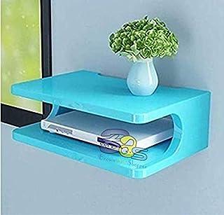 Brown Art Shoppee Set Top Box Stand Wall Shelf & WiFi Modem Rack for Living Room (Blue)