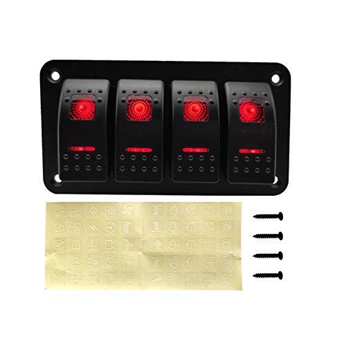 GAOLE Cambiar accesorios 4 Gang On Off Bocker Interruptor Panel de aluminio con 4.2A Dual USB Cargador Socket LED Voltímetro Digital Calibrador en Barco marino de automóviles (Color : Red2)