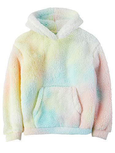 Gemijacka Pullover Kinder Kapuzenpullover Unisex Teddy-Fleece Sweatshirt mit Kapuze Jungen Mädchen Plüsch Winter Hoodie Tie Dye Rosa 150 cm