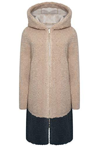 Rino & Pelle Women's Neomi Two Tone Faux Fur Coat Beige (EU 42 (UK 14))