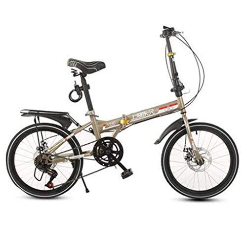 WLGQ Bicicleta Bicicleta Plegable Hombres y Mujeres Adultos Bicicleta de Velocidad Plegable de 20 Pulgadas Bicicleta portátil Ligera (Color: Negro, Tamaño: 115 * 30 * 95 CM)
