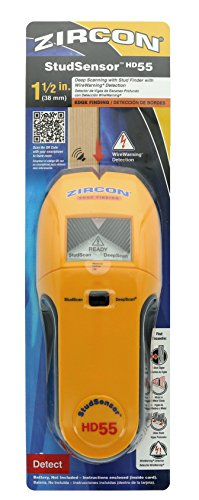 Zircon HD55 9 Volt 4-Mode Multiscanner for Finding Studs, Live Wire, or Metal w/ Backlit Display (Battery Not Included, Tool Only)