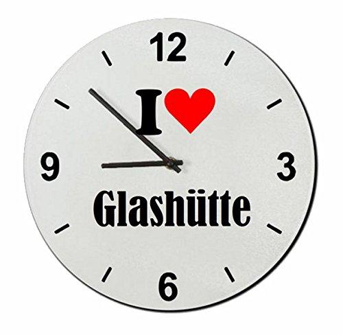 Druckerlebnis24 Exclusivo: Vidrio de Reloj I Love Glashütte una Gran Idea para un Regalo para su Pareja, colegas y Muchos más! - Reloj, Regaluhr, Regalo, Amo, Made in Germany.