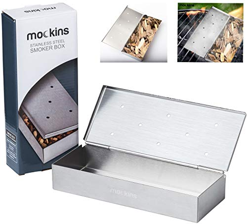 Mockins Stainless Steel BBQ Smoker Box for Grilling Barbecue Wood Chips On Gas Grill Or Charcoal Grills