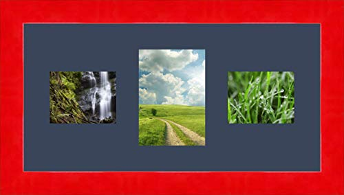 Bilderrahmen multivues Dunkelblau Blau 2 Foto(s) 13x10 and 1 Foto(s) 13x18 Passepartout Schrägschnitt, Wand Bilderrahmen 50x25 cm Galerie Leuchtend Rot, 4 cm Breiten Holzleisten