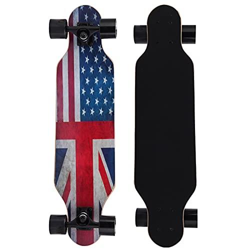 Longboard Skateboard, 8 Capas de Arce Natural Completo monopatín Crucero, Drop Through Freestyle Longboard Skateboard para Adultos, Adolescentes, Principiantes (patrón de Bandera Estadounidense)