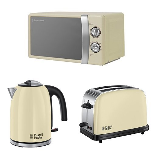 Russell Hobbs 17 L, 700 W Manual Microwave with Colours Plus Kettle, 3000 W, 1.7 L and Colours Plus 2-Slice Toaster, Cream