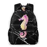 Rainbow-Seahorse-Black Backpack Daypacks Work Bags for Kids Boys Girls