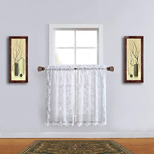 """WARM HOME DESIGNS Pair of 30 Inches Wide x 45 Inches Extra Long White Color Knitted Lace Kitchen Tier Curtains with Charming Flower Pattern. Add Swags & Valance for Ultimate Look. FI White Tiers 45"""""""