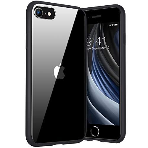 TORRAS Ultra Clear für iPhone 7/8/SE 2020 Hülle Vergilbungsfrei, Stoßfest iPhone SE Hülle/iPhone 8 Hülle/iPhone 7 Hülle Hülle Hard Back & Silikon Bumper Handyhülle iPhone 7/8/SE 2020 (Schwarz)