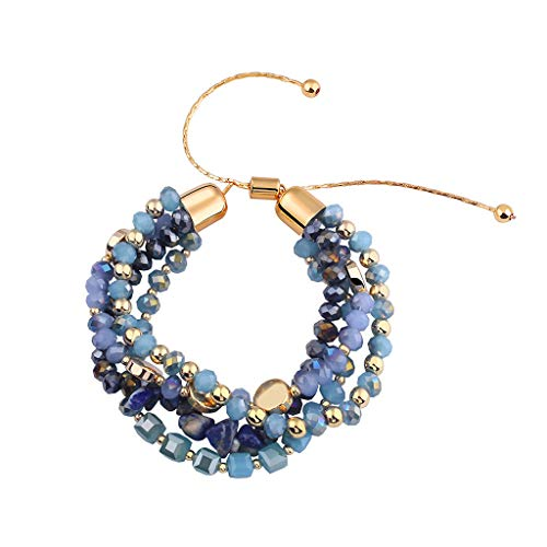 HINK Women Retro Bohemian Bangle Colorful Beaded Multilayers Elasticity Bracelets Woman Jewelry & Watches Bracelets For Mother's Day Easter