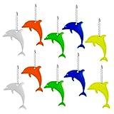 10 ciondoli catarifrangenti con anello portachiavi a forma di delfino, riflettori di sicurezza per bambini, per zaini, giacche, zaini, ciclismo, passeggiate, corsa, passeggini