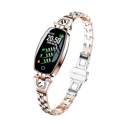 WSY Intelligente Uhr Frauen Für Android IOS wasserdichte Fitness Armband Lady Smartwatch Sleep Heart File Monitor Geschenk H8 (Color : Gold)