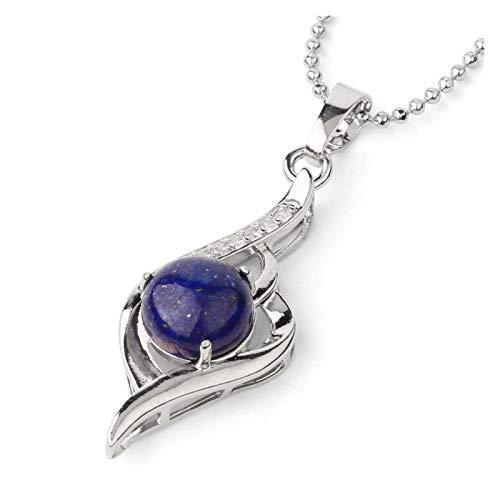 Diablo Ojo Collares Collares Piedra Natural Cristal Micro Incrustación Zircon Forma de corazón Colgantes Pendientes Amuleto Mujer Charm Joyería Gift (Metal Color : Lapis Lazuli Chain)