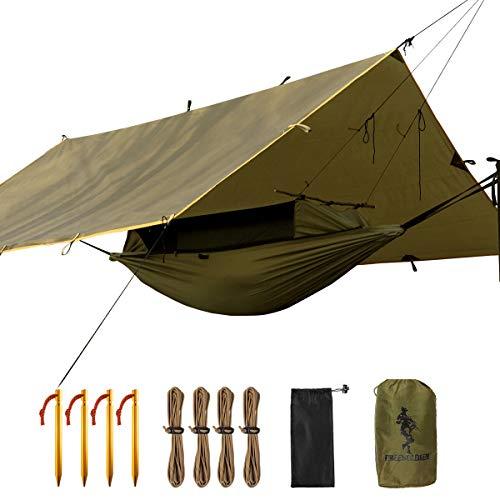 FREE SOLDIER Camping Tactical Hammock Tarp Kit-2 Persona Leggero Impermeabile Portatile Sacco a Pelo con zanzariera Rain Fly Tenda tarp Set e 2 x Appeso Strappi per Escursionismo Outdoor Backpacking