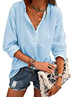 Fetures:Blouses for Women, V neck Shirts, Button Down, Roll-up Sleeve, Striped, Loose Fit, Solid Color Blouses and Tops for Work, long sleeve Blouses,shirts for women ,loose fit tops. Soft Material:Made with high-quality fabric, breathable, lightweig...
