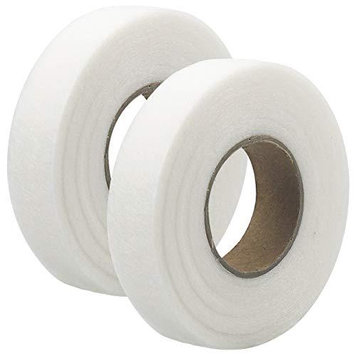 Dokpav 25mm 130M Saumband Bügelband, 2 Rollen Klebeband Aufbügelbar, Fixierband Nahtband, für Textilien Hosen Gardinen Vorhänge zum Aufbügeln/nähen, Weiß, zum Aufbügeln oder Nähen