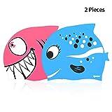 IPOW 2 PCS - Gorros de natación para niños Silicona no tóxica Antideslizante, Impermeable, para el Cuidado del Cabello para niños y Adolescentes, Rosa y Azul