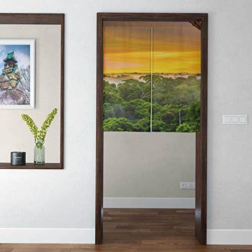 QIAOLII Cortina de Puerta de Dormitorio de Estilo Corto japonés Cortinas de Selva de Amazon Primeval para Tapiz de Puerta de Dormitorio para niños para decoración del hogar