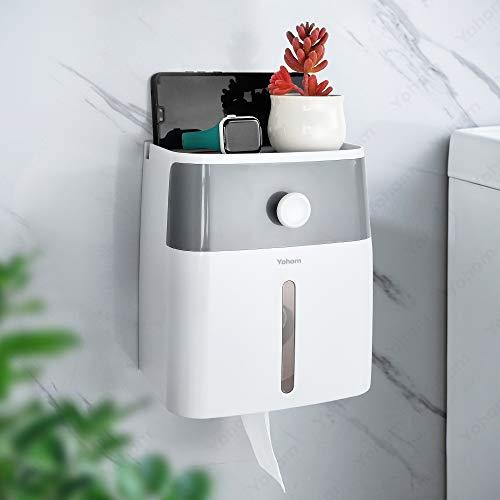 YOHOM Porta Rotolo di Carta Igienica Impermeabile con Contenitore e Supporto per Telefono Dispenser di Asciugamani Carta a Parete Senza Foratura Autoadesivo Grigio e Bianco